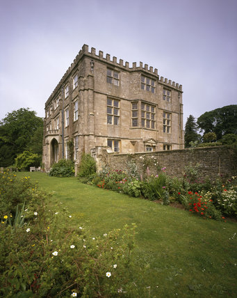 This is an oblique view of the East Front of Newark Park, Glos