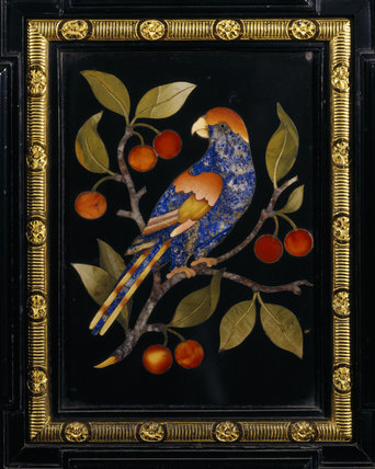 Detail of the smaller pietra dura cabinet from the Dining Room depicting a parrot on a cherry bow