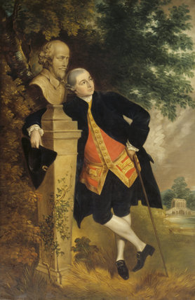 DAVID GARRICK (1717-1779), after Gainsborough (1727-88) He is pictured reclining against a bust of Shakespeare