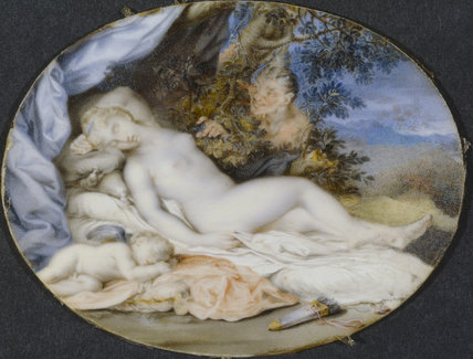 VENUS AND CUPID ASLEEP SPIED UPON BY A SATYR, one of a pair of miniatures attributed to Jacques Charlier from Stourhead