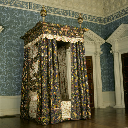 The State Bed With Colourful Chinese Silk Hangings Which