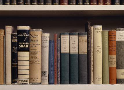 Close-up of books by or about the Irish dramatist and critic George Bernard Shaw, at Shaw's Corner