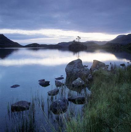 Lake and distance mountains at dusk, Llynnau Gregennen near Dolgellu
