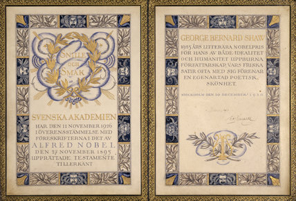The Nobel Prize Book awarded to George Bernard Shaw in 1926 in the Museum Room at Shaw's Corner