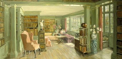 THE LIBRARY AT CHANCELLOR'S HOUSE by Florence Seth (1908-1914) from the Windsor Corridor at Belton House