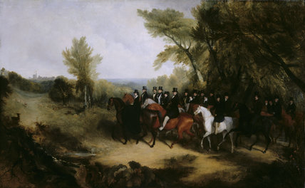 Queen Victoria and her suite riding in Windsor Great Park 1839 by Richard Barrett Davis (1782-1854)