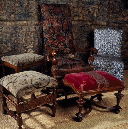 Two 17th century joint stools and a walnut chair with Turkey work upholstery, and a 19th century glazed cotton cover
