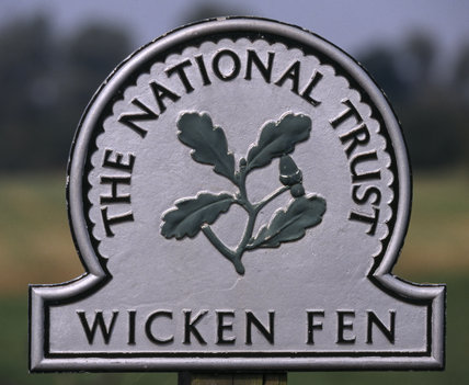 Close-up of the National Trust sign at Wicken Fen