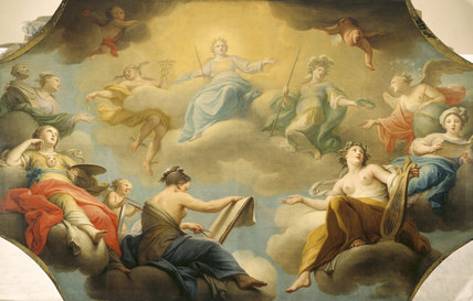 ALLEGORY OF THE ARTS by Andrea Casali, post-conservation painting from the Walnut Staircase ceiling at Dyrham Park, depicting heavenly muses