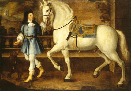 GREY STALLION AND ATTENDANT by