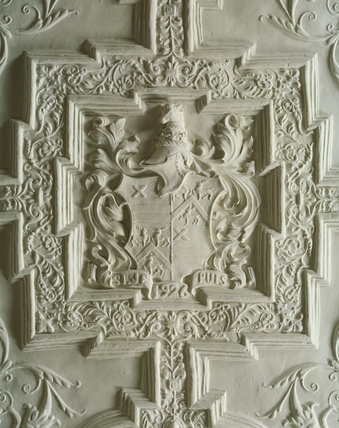 The Oak Room; the plasterwork ceiling is based on a famous early 17th century original, but incorporates the Fairhaven coat of arms and the date - 1926 - when the room was completed