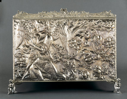 The Upper Gallery; square-on view of the front of the Spanish silver sacristy chest