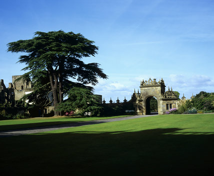 Looking across the lawn to the Gatehouse at Hardwick Hall