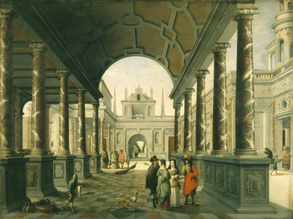 Architectural capriccio with figures of Vredeman de Vries and David Teniers the Younger