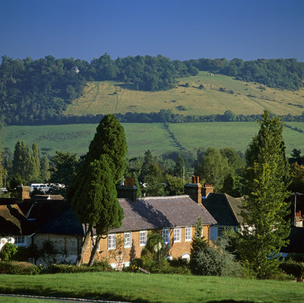 Looking up to Box Hill from Dorking, Surrey