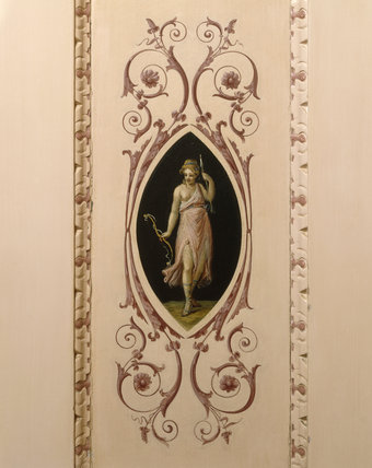 Detail of decorative paintings in the doors and overdoors of the Small Dining Room at Nostell Priory, by Antonio Zucchi, including putti and nymphs