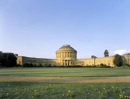 View of the north front of Ickworth showing the central Rotunda and curved corridors