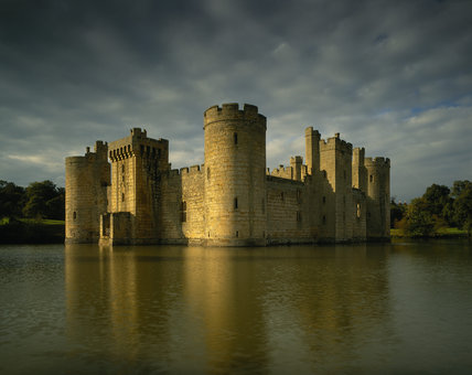 The south east corner of Bodiam Castle seen across the moat
