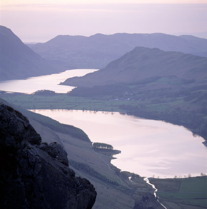 View of Buttermere and Crummock Water in the Lake District, Cumbria