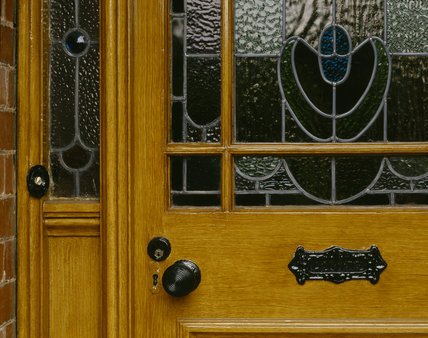 Close-up of the front door of Mr Straw's House