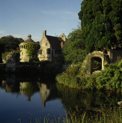 View of Scotney Castle across the moat