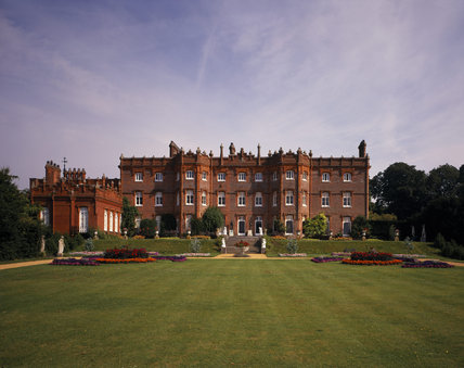 A view of the South Front of the Manor, also showing some bedding schemes