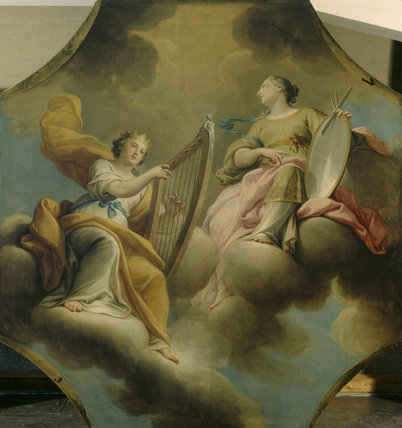 ALLEGORY OF THE MUSES, one of three panel paintings depicting the personification of `Music' in the Great Hall at Dyrham Park, post-conservation