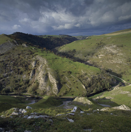 A view of the Dovedale area showing the crags of Bunster Hill from near to the summit of Thorpe Cloud