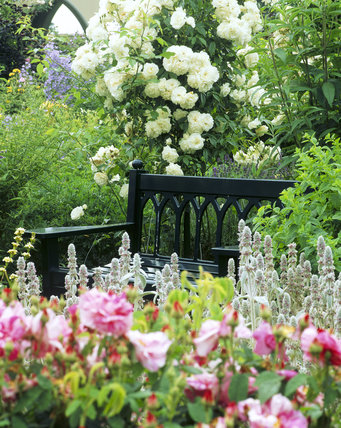 A view taken in the Walled Garden, created and managed by the Throckmorton Family, at Coughton Court showing a green bench surrounded by roses and other colourful flowers