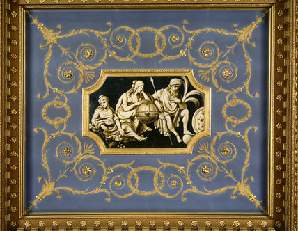 Detail of plasterwork ceiling inspired by Robert Adam showing three mythological figures, by George Mullins, 1773, in the Saloon at Chirk Castle