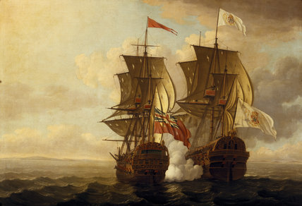 THE CAPTURE OF THE `NUESTRA SENORA DE CABADONGA' by John Clevely (fl. 1726-77)