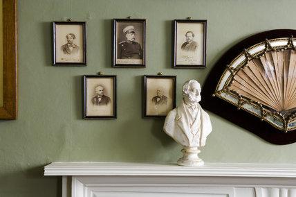 The mantlepiece in the Berlin Congress Room at Hughenden Manor, Buckinghamshire, home of prime minister Benjamin Disraeli between 1848 and 1881