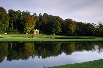 The Temple of Piety seen across the Moon and Half Crescent ponds at Studley Royal Water Garden