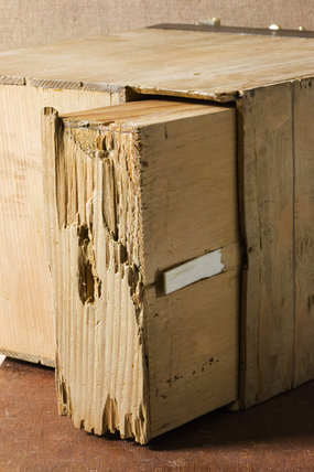 Close view of part of the damaged wood of the Pope's Cabinet and its restoration at Stourhead