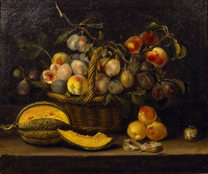 Snowshill, STILL LIFE WITH A BASKET OF PEACHES AND PLUMS by Jacques Linard 1635