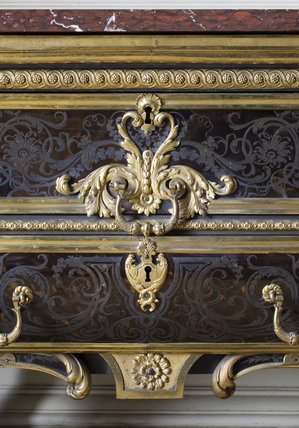 Centre section of the front of the Boulle commode in the Carved Room at Petworth House, West Sussex