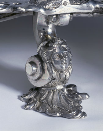 Detail of the foot of a salver by Peter Archambo, 1739/40 (DUN.S.482) part of the silver collection at Dunham Massey, photographed for the Country House Silver book.