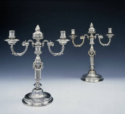 A pair of candleabra by Parker and Wakelin, 1772/3, (DUN.S.467 a & b) part of the silver collection at Dunham Massey, photographed for the Country House Silver book.