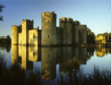 The north east corner of Bodiam Castle seen across the moat