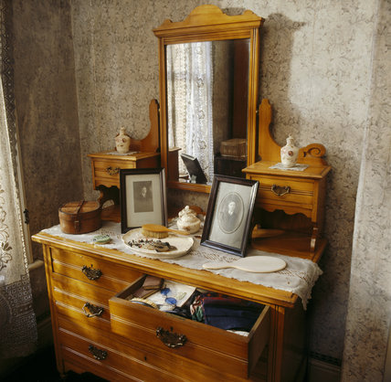 View of the mother's dressing table found in the parent's room of Mr Straw's House