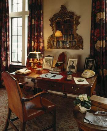 View of Churchill's desk in the Library at Chartwell