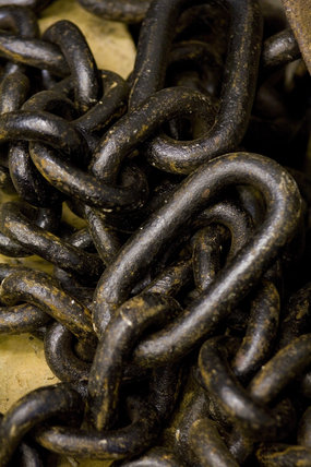 Close up of chains used at Dolaucothi Gold Mines, Llanwrda, Carmarthenshire