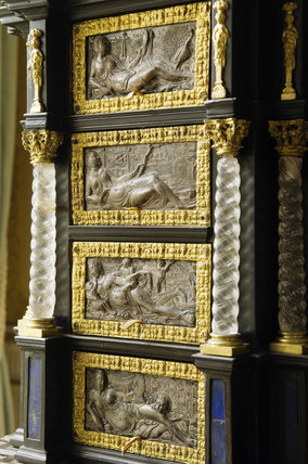 Detail of the ebonised table cabinet created in c.1875 from earlier elements, in the Drawing Room at Hinton Ampner, Hampshire.