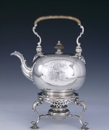 A tea kettle and stand by Edward Feline, 1746/7, (DUN.S.472) part of the silver collection at Dunham Massey, photographed for the Country House Silver book.