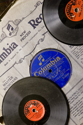 Detail of 78rpm gramophone records in the Parlour at Plas yn Rhiw, Pwllheli, Gwynedd