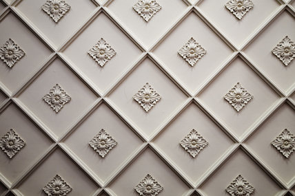 Diamond-pattern plasterwork ceiling in the Drawing Room at Hughenden Manor, High Wycombe, Buckinghamshire
