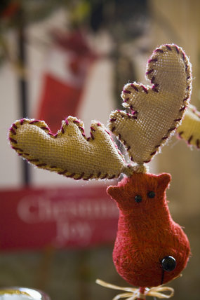 Christmas decorations on sale at the Christmas fair at Lacock Abbey, near Chippenham, Wiltshire
