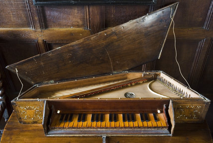 Late-seventeenth or early-eighteenth century spinet by Stephanus Keene of London, in the Music Room at Westwood Manor, near Bradford-on-Avon, Wiltshire