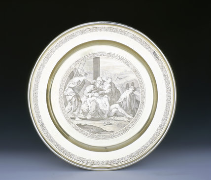 A large Alms dish by Isaac Liger, 1706/7, (DUN.S.321), part of the silver collection at Dunham Massey, photographed for the Country House Silver book.
