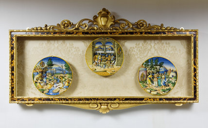 Framed Majolica plates depicting religious and classical scenes, in The Library at Ickworth, Suffolk